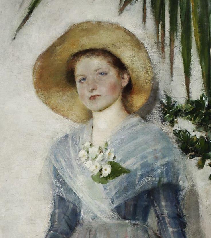 """Olga Boznańska, """"W oranżerii"""", 1890, olej na płótnie - detal., fot. Muzeum Narodowe w Warszawie"""