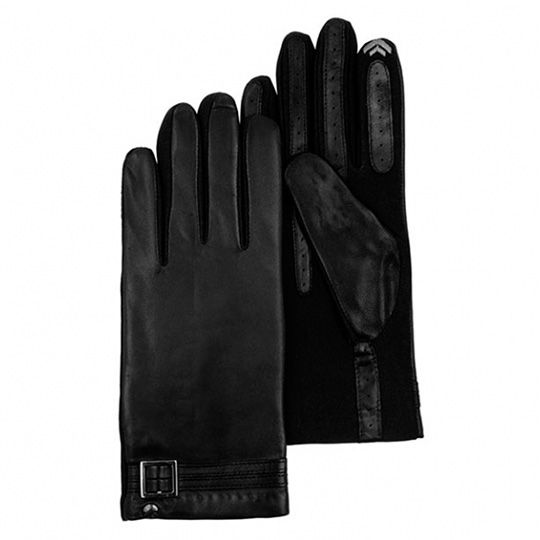 Перчатки сенсорные кожаные 'Black Leather', размер S-M