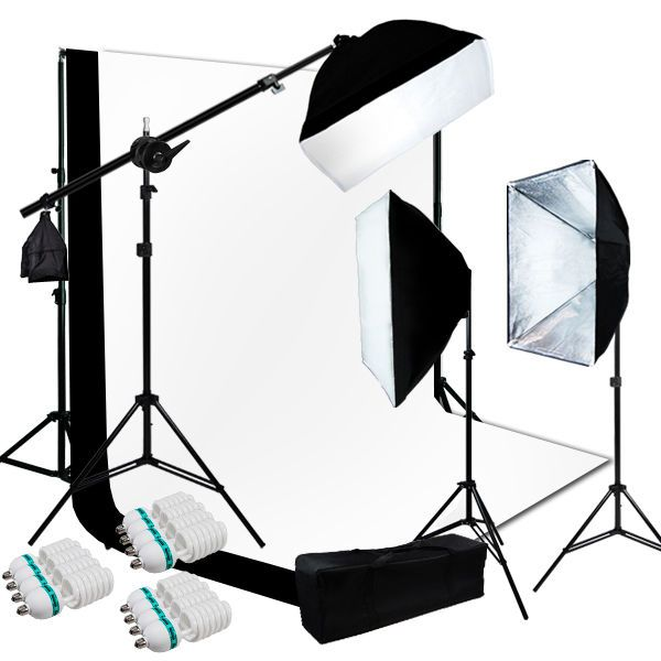 10 x 13 ft BW Backdrop Support Stand Photography Studio Video Softbox Light 3Kit #LusanaStudio