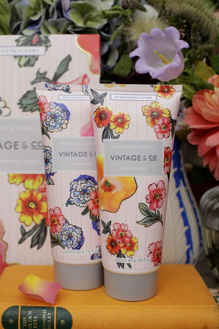 VINTAGE & CO PATTERNS AND PETALS Gentle, cleansing shower gel and a richly moisturising body lotion enriched with glycerin and vitamin E, each fragranced with crisp confident notes of bergamot and pink pepper.