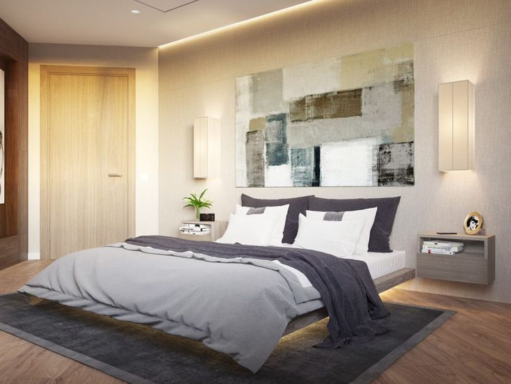 Bedroom:Bedroom Lighting Ideas Rectangle Wall Lamp Modern Bed Big Pillow Grey Blanket Thick Bed Cover Rectangle Rug Wooden Floor Painting Frame Wooden Door Cream Wall 34 Staggering Bedroom Lighting Ideas