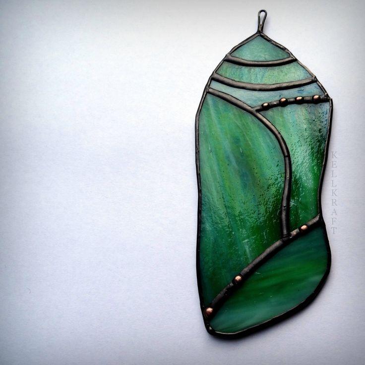 CHRYSALIS Monarch Butterfly Cocoon Stained Glass Suncatcher by KELLKRAFT on Etsy