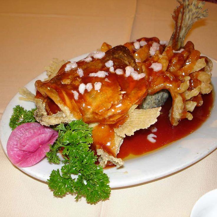 'Squirrel fish' - deep fried mandarin fish.  Suzhou, China