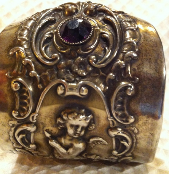 Sterling Silver Cuff Bracelet 2 AMETHYST stones Cherub Art Nouveau Repoussé by Minnie Wiggles. $675.00, via Etsy.