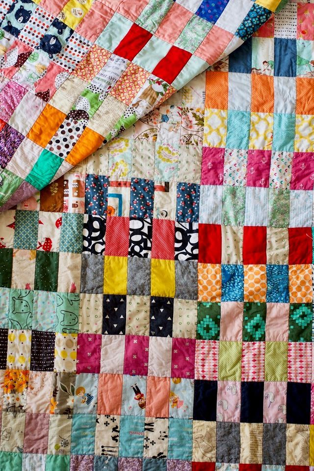 This is one of my favorite scrap quilt patterns lately...I have another quilt top just like this one I need to finish. The squares are cut 2.5 x 4.5 inches, so my scrap bin had much to contribute to t