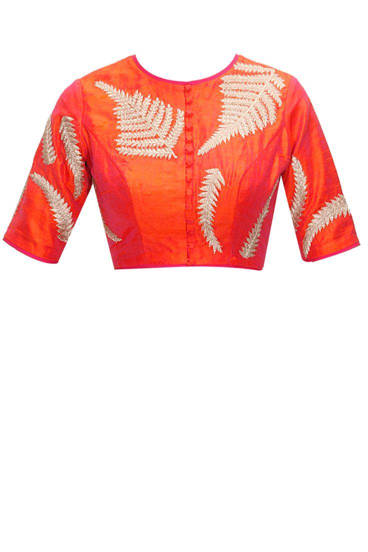 Orange pinkish fern embroidered blouse by Nachiket Barve. Shop now: www.perniaspopups.... #blouse #beautiful #designer #nachiketbarve #pretty #accessory #shopnow #perniaspopupshop #happyshopping