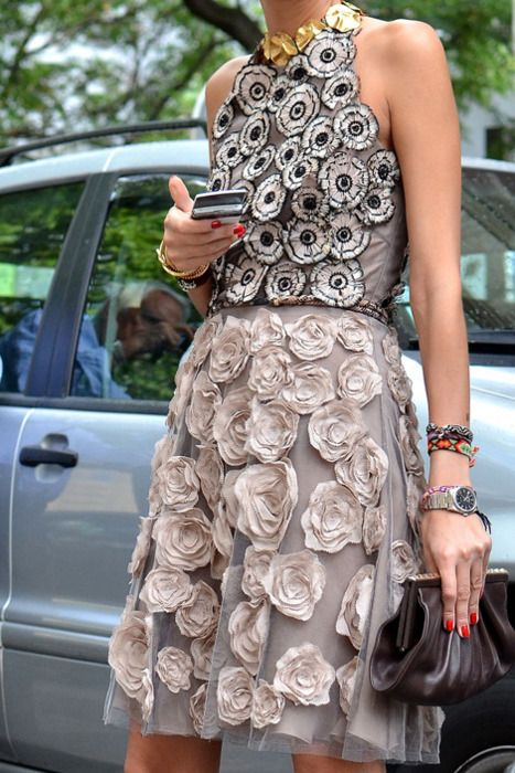 Elle Fashion. copy these embellishments at dress hem and pockets