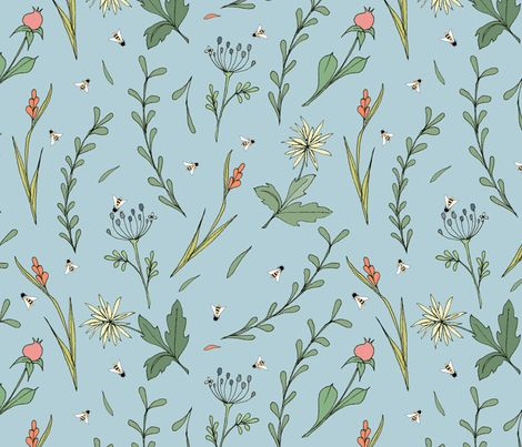 wild flowers and bees blue fabric by ex-m_by_alessandraspada on Spoonflower - custom fabric