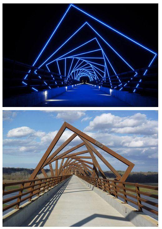 Ponte com iluminação sensacional durante a noite. #architecture #design. Light design