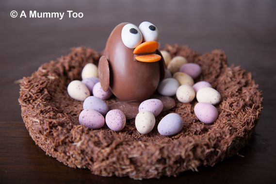 Kinder egg chick in a wheaty chocolate nest