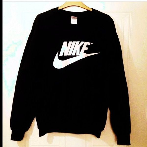 Unisex Customised Nike Jumper Sweatshirt Festival Swag ($30) ❤ liked on Polyvore featuring tops, hoodies, sweatshirts, dark olive, t-shirts, women's clothing, sweatshirt hoodies, black top, black sweat shirt and sweat tops