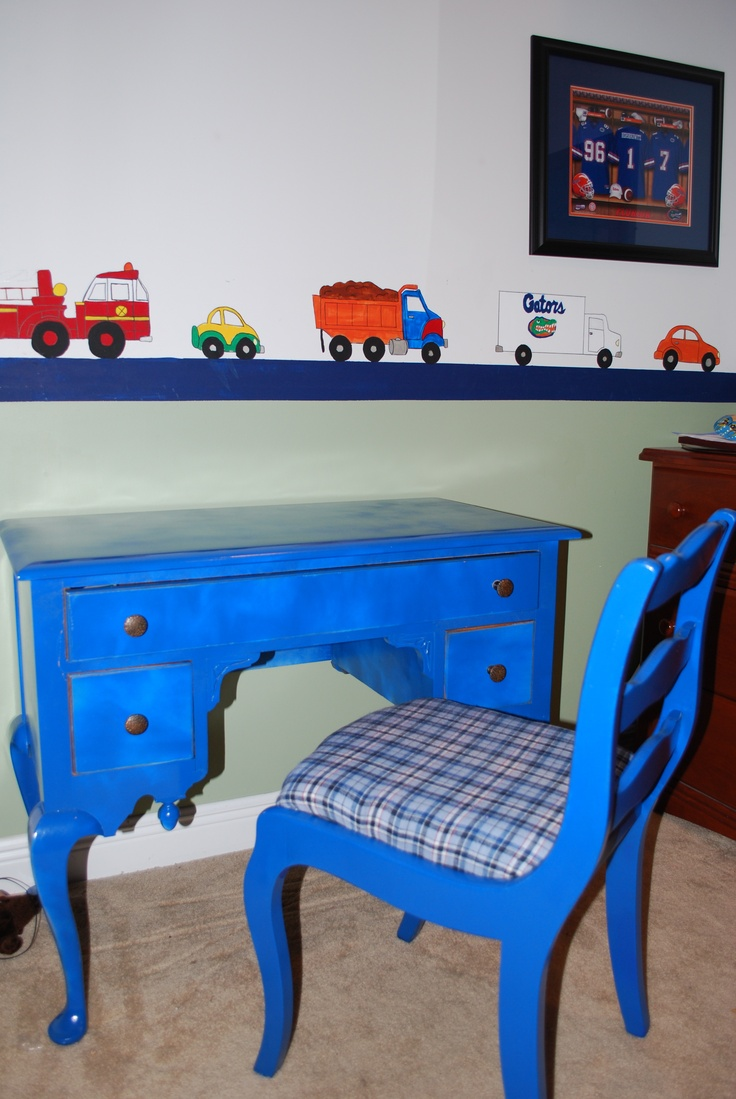 Painted desk reupholstered chair boys room desk for Chair for boys room