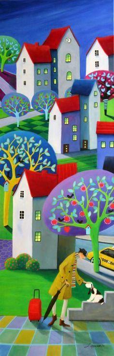 arte grafica collage casas ciudades naif - Pesquisa Google
