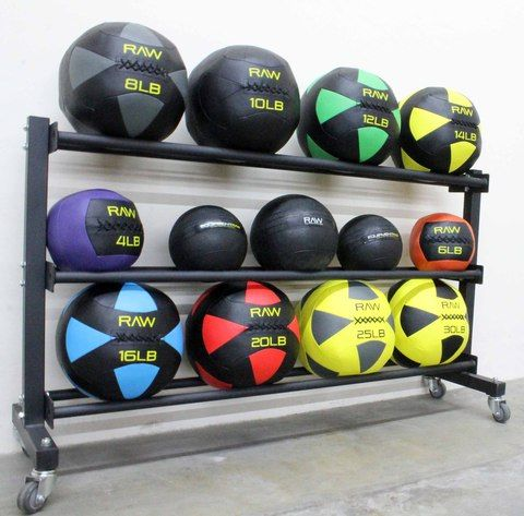 18x65 $160 Rolling Horizontal Medicine Ball Rack For Wall And Slam Balls |  Equipment RAW