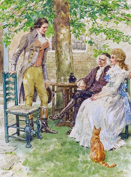 A Tale of Two Cities - Dr Manette and Lucie with Charles Darnay, by Charles Edmund Brock, c. before 1938
