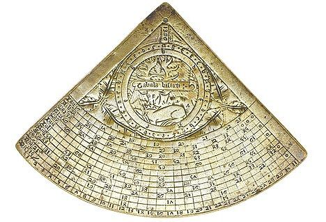 """An """"Hour Horary Quadrant"""" (one of the first timekeeping devices for dividing a day into 24 hours) bearing the seal of England's King Richard II, dating from 1396."""