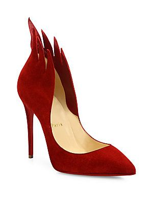 7ff38cf68be9 Christian Louboutin Flame Suede Point-Toe Pumps. Suede PumpsRed ...