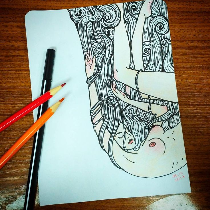 #графика #линер #цветныекарандаши #рисунок #ясама #женщина #ню #арт #наширукинедляскуки #падение #graphicart #art #graphic #liner #coloredpencil #drawing #imadedthese #woman #falling #mine