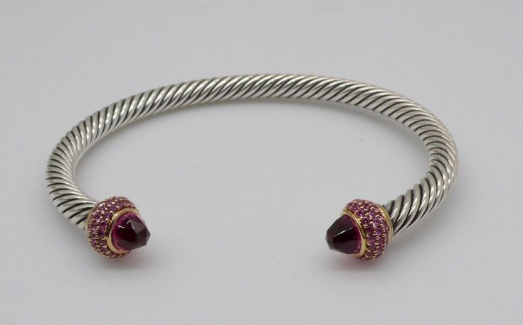 David Yurman Cable Clic S Sterling Silver 18kt Gold Garnet Bracelet Ebay