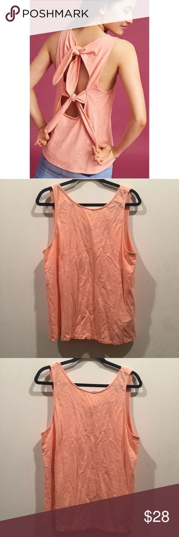 ☀️NWT Anthropologie Ro&De Bow Back Tank Top Anthropologie Ro&De Bow Back Tank Top Blouse in large, color peach, New with tags Anthropologie Tops Blouses