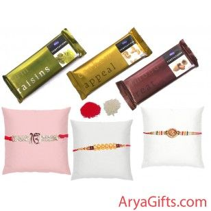 Send online rakhi and gifts to India. Send the best rakhi wishes to your dearest brother and show how much you will miss them on this Raksha Bandhan. This Rakhi hamper contains 3 DesignerBeautiful Rakhi Set with Temptation Delight. Rakhi design may differ as per the stock available. We offer free pack of Roli & Chawal along with Rakhis.we will ship this product for free.