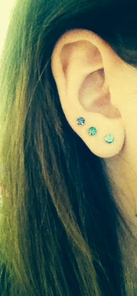 Triple lobe. I love how each earring is just a shade different!