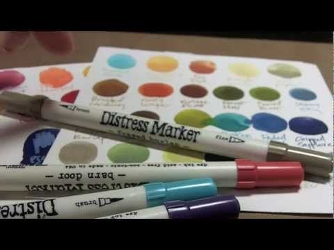 Brett Weldele has great techniques for Distress ink, stain, & markers. He does many things with it: paints,  sketches, sprays, stamps in puddles of it...