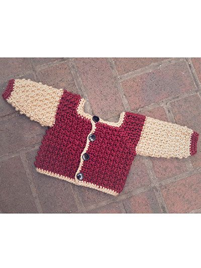 A fun, textured jacket for any baby boy or girl, this sweater is perfect for autumn to transition into winter. The pattern also includes instructions for making a vest. Size: 0-3 months. Made with medium (worsted) weight yarn and size J/10/6mm hook. Skill Level: Intermediate