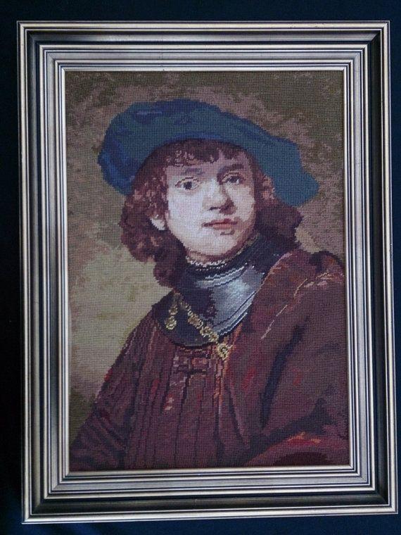 Large Framed Tapestry Picture. Framed Gobelin Portrait of Young Man ROP0044