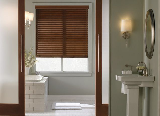 Faux wood blinds 637 460 for tv room brown 2 for Bathroom window treatments