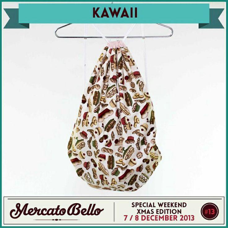 """• kawaii   """"UN SACCO BELLO"""" un collezione di sacchi/ zainetti completamente fatti a mano, con amore per la sartoria, i colori e le stoffe.  Vieni a scegliere il tuo preferito domenica 8 dicembre!"""