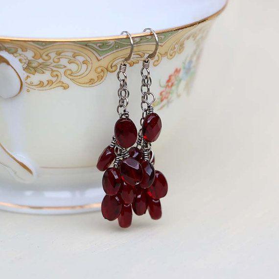 Red Garnet Earrings January Birthstone  Sterling Silver by Jularee