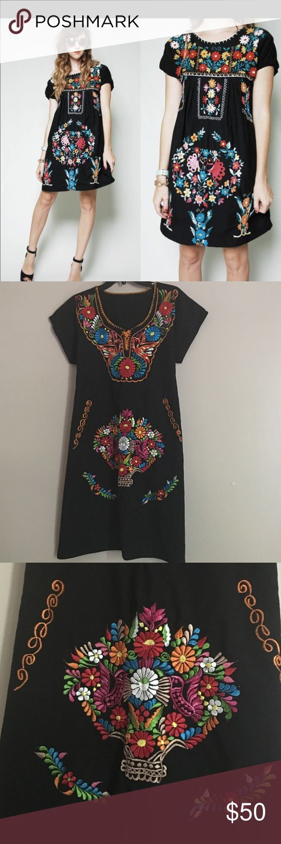Nice Boho Mexican Dress Embroidered Mexican Dress, Amazing Handmade Details, One  Size Fits Most, Good Ideas