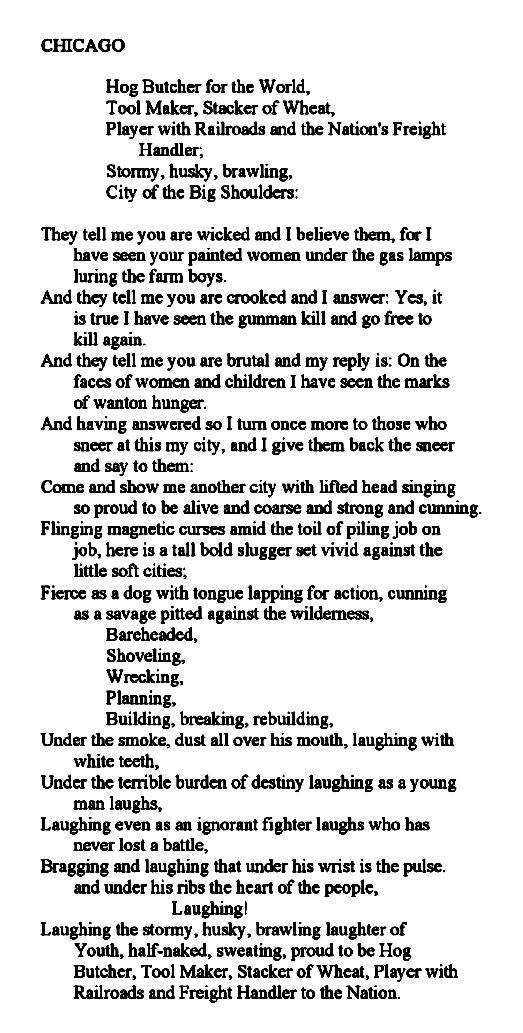 A poem by Carl Sandburg —— #chicago  This poem has such power!
