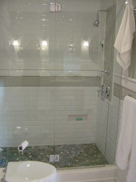 Web Photo Gallery Another view penny tile accent white subway tiles and river rock shower floor