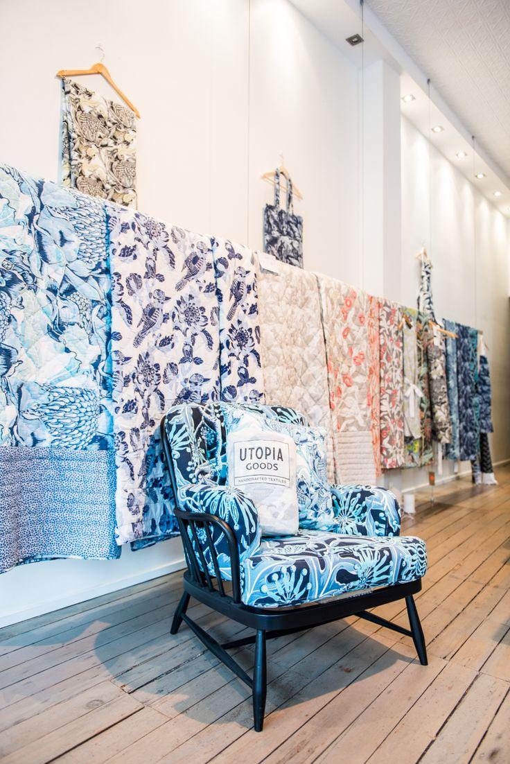 Ercol armchair in Utopia Goods hand screen printed 'Indigo' Firewheel linen cotton fabric.