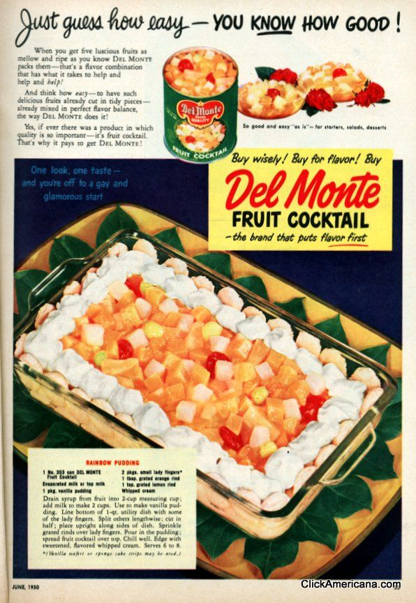 Fruit Cocktail Hot vintage Recipe Ad-remember to view the image larger click on the pic and select large so you can see the recipe! Description from pinterest.com. I searched for this on bing.com/images