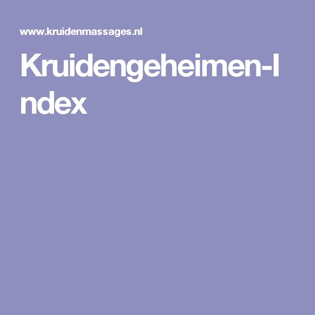 Kruidengeheimen-Index