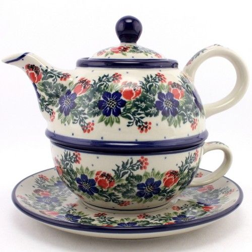 $71.99 Teapot and Cup with Saucer #167 | Slavica Polish Pottery