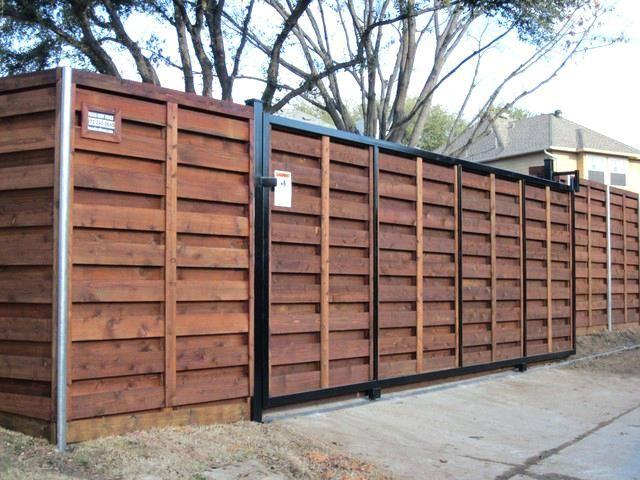 Automatic Sliding Driveway Gate Opener Sliding Fence Gate Hardware Wood Stained Horizontal Cedar Sliding Gate Sliding Fence Gate Motor