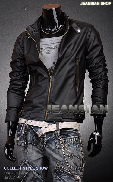 3mu Mens Designer Jacket in Faux Leather