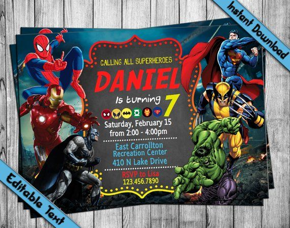 Instantly Download Edit And Print This Avengers Invitation Our Diy Editable Pdf Template S Are Ea Invitation Template Birthday Invitations Avengers Birthday