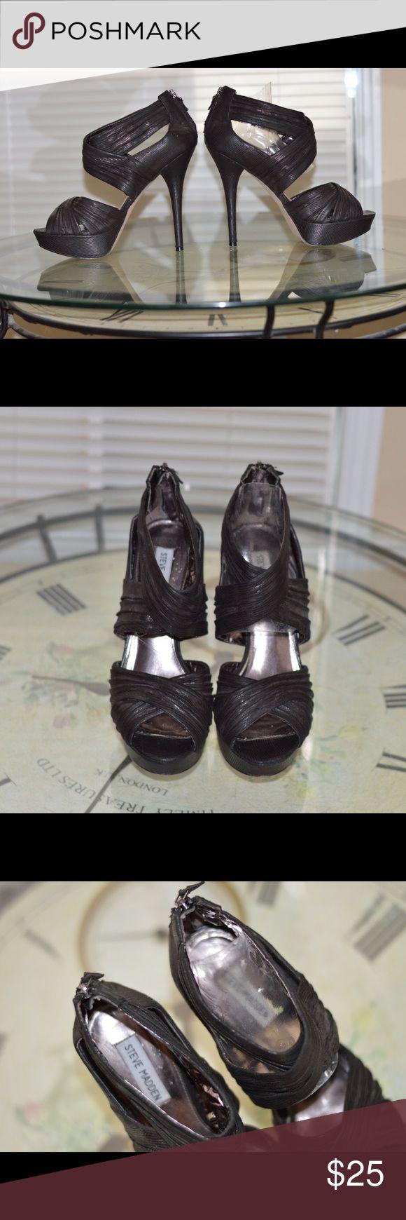 Steve Madden Black sparkle heels- 10 Steve Madden black heels with pink metallic lining inside. Size 10 Steve Madden Shoes Heels