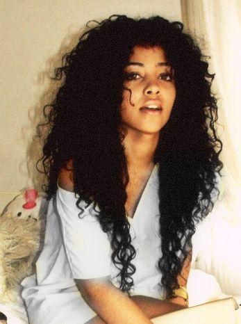 Long hair loose curls natural black woman lady girl natural-hair