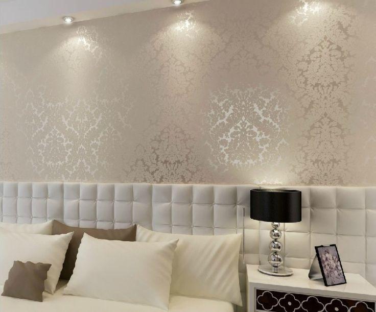 CREAM WHITE Papel Luxury Vintage Europeia parede damasco PVC em relevo Papel de Parede Rolls Decoração Ouro Prata Branco R61-in Wallpapers de Hom ...