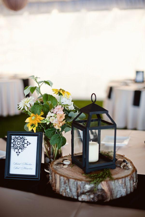 Rustic woodsy lantern centerpiece centerpieces