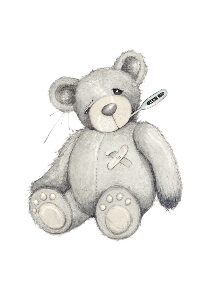 """God bedring"" (Vintage teddy bear)  Copyright: Emmeselle.no  Illustration by Mona Stenseth Larsen"