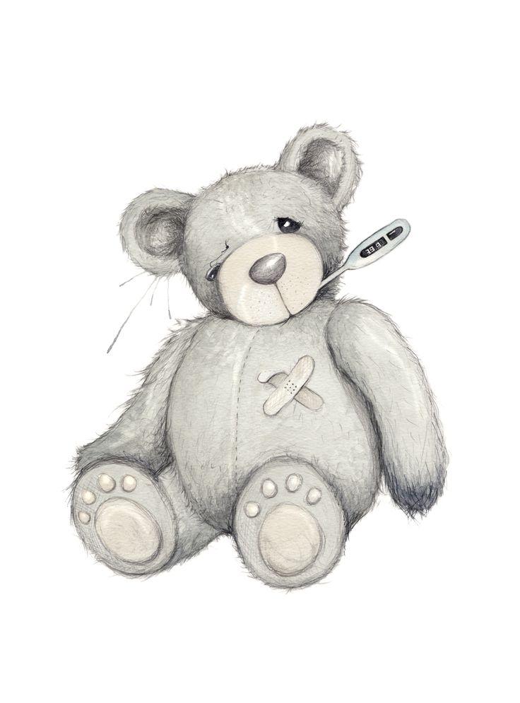 """God bedring"" (Vintage teddy bear)  Copyright: Emmeselle.no  Illustration by Mona Stenseth Larsen"