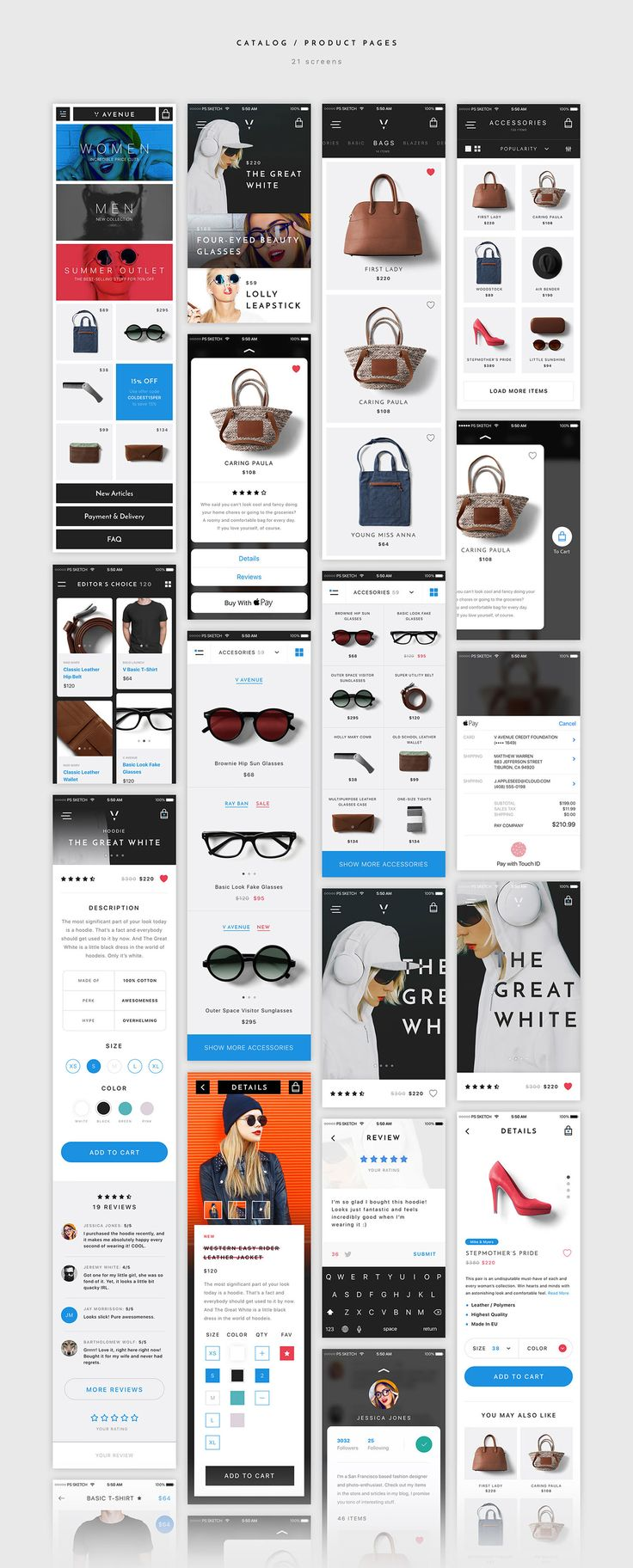 V Avenue is an advanced mobile UI Kit with a strong focus on e-commerce created with a sick attention to the details. These 100 mobile app templates of highest quality with ultra clean and sharp design will be a huge helper and save you a lot of time.