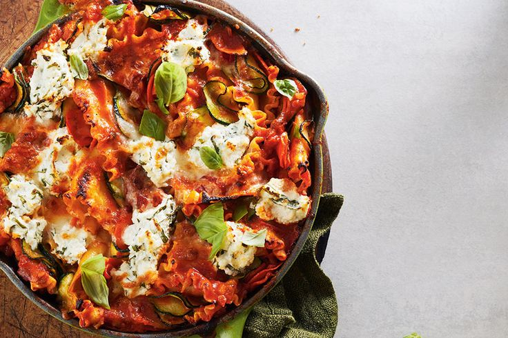Lazy Veggie Skillet Lasagna—Think it's impossible to make lasagna on a weeknight? This dynamic mix of veggies and pasta still delivers comforting flavour but comes together quickly because there's no fussy layering.